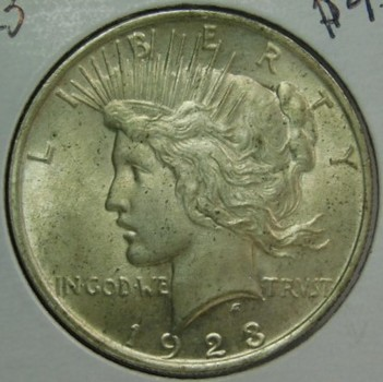 1923 Peace Silver Dollar - Struck in Philadelphia - Nice Detail and Luster