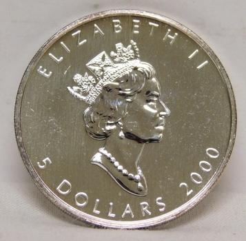 2000 Canada $5 Maple Leaf - 1 oz .9999 Fine Silver w/Oval Y2K 2000 Privy Mark
