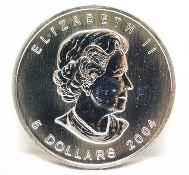 2004 Canada $5 Maple Leaf - 1 oz .9999 Fine Silver
