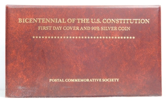 1987 Bicentennial of the U.S. Constitution First Day Cover and 90% $1 Silver Coin Electroplated with 24K Gold by the Postal Commemorative Society - In Very Nice Display Folder