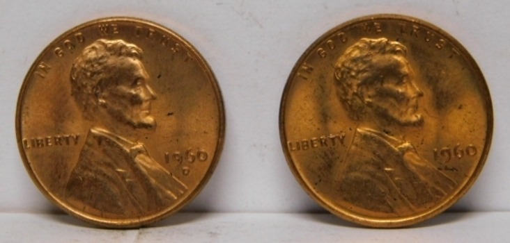 Set of (2) 1960 Philadelphia and Denver Minted Small Date Cents