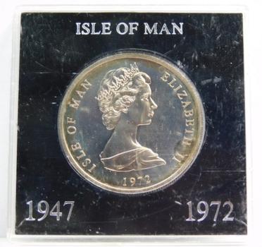 1947-1972 Isle of Man Queen Elizabeth and Prince Philip Silver Wedding Anniversary Commemorative Crown - High Grade Brilliant Uncirculated