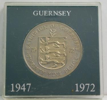 1947-1972 Guernsey - Cupid - Queen Elizabeth and Prince Philip Silver Anniversary Commemorative Crown - High Grade Brilliant Uncirculated