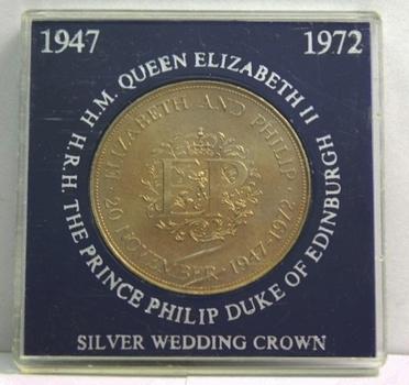 1947-1972 Great Britain Queen Elizabeth and Prince Philip Silver Anniversary Commemorative Crown - High Grade Brilliant Uncirculated