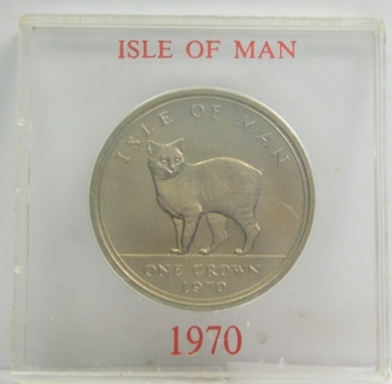 1970 Isle of Man Manx Cat Commemorative Crown - High Grade Brilliant Uncirculated - Low Mintage of Only 150,000!!!