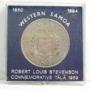 1969 Western Samoa Robert Louis Stevenson Commemorative Tala - High Grade Brilliant Uncirculated - Low Mintage of 25,000!!!