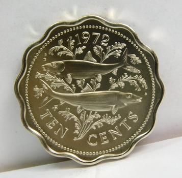 1972 Bahamas Bonefish 10 Cents - Gem Brilliant Uncirculated Specimen - Low Mintage of 11,000!!!