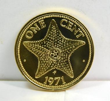 1971 Bahamas Starfish 1 Cent - Gem Brilliant Uncirculated Specimen