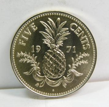 1971 Bahamas Pineapple 5 Cents - Gem Brilliant Uncirculated Specimen - Low Mintage of 13,000!!!
