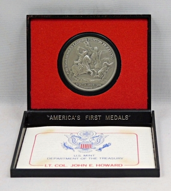 """Lt. Col. John E. Howard Commemorative Medal - 7th in the 10 Piece Series of Pewter Reproductions of America's First Medals to Commemorate the Military Actions of the Revolutionary War - 1 1/2"""" Diameter"""