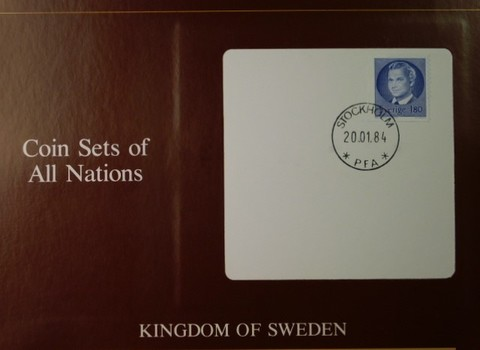 Kingdom of Sweden - Coins of All Nations - Six Uncirculated Coins with Cancelled Stamp