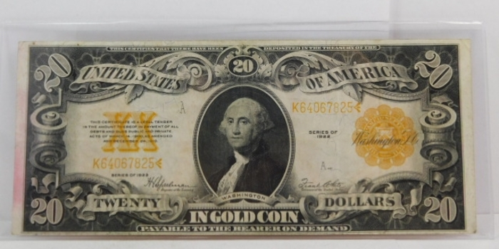 1922 $20 Large Size Gold Certificate - Historical Note Payable in Gold Coin - Nice Higher Grade Note