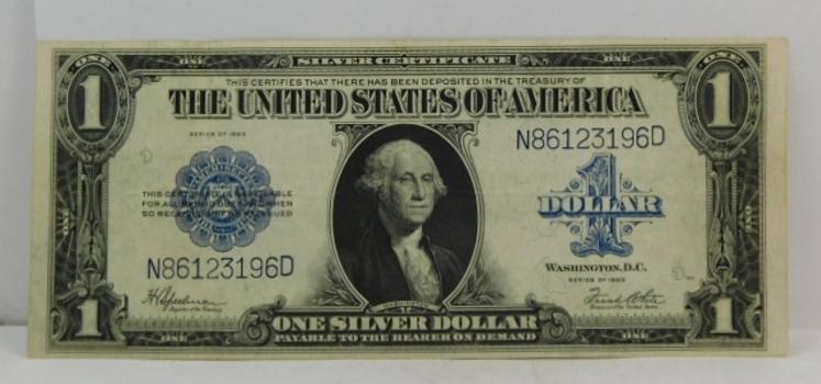 1923 $1 Large Size Saddle Blanket Silver Certificate - Nice Higher Grade Note - Crisp Paper