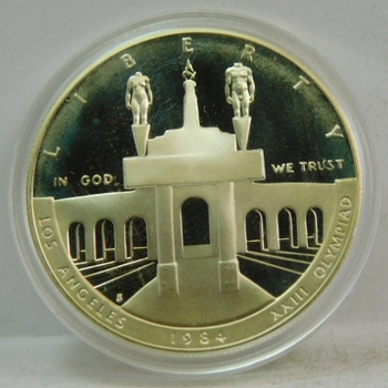1984-S Los Angeles Olympic Coliseum Proof Silver Dollar - Less than 120,000 Distributed - Still in Original Mint Capsule