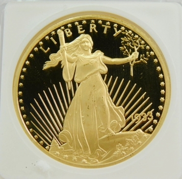 1933 REPLICA 24K Gold Layered $20 Gold St. Gaudins Coin-STG Registered Holder Serial # 07-08031907-STG-07 Beautiful Copy Of A Rare $20 Gold Coin