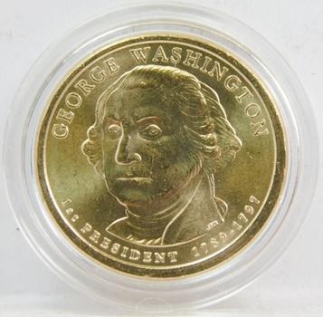 2008 George Washington Presidential Dollar Coin Brilliant Uncirculated in Custom Airtight Holder