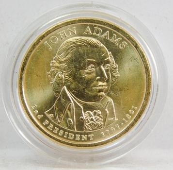 2008 John Adams Presidential Dollar Coin Brilliant Uncirculated in Custom Airtight Holder