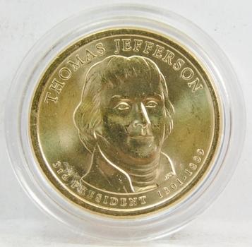 2008 Thomas Jefferson Presidential Dollar Coin Brilliant Uncirculated in Custom Airtight Holder