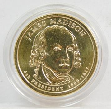 2008 James Madison Presidential Dollar Coin Brilliant Uncirculated in Custom Airtight Holder