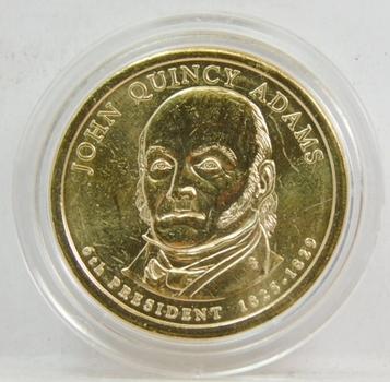 2009 John Quincy Adams Presidential Dollar Coin Brilliant Uncirculated in Custom Airtight Holder