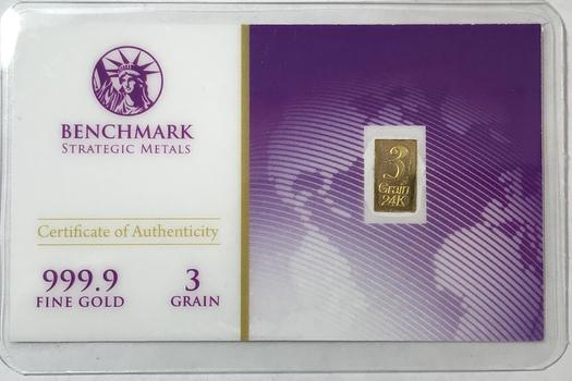 3 Grain 1/5 Gram 999.9 Fine Gold Bar - Benchmark Precious Metals w/ Certificate of Authenticity