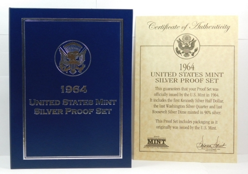 "1964 United States Mint Silver Proof Set - In ""Framed"" Book Like Box with COA"