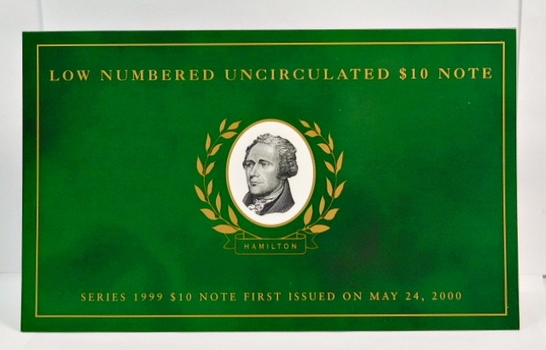 Low Numbered Uncirculated Series 1999 $10 Note First Issued on May 24, 2000 - In Collector's Folder from The Department of Treasury - #BB00005202A