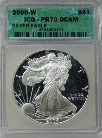 HIGH GRADE!! - 2006-W American Proof Silver Eagle - Graded PR70 DCAM by ICQ