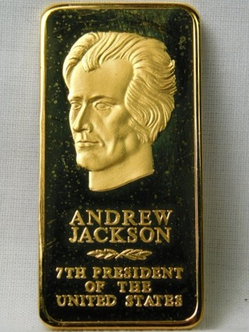 """Andrew Jackson - 7th President of the United States - 2"""" 24K Gold Layered Bar"""