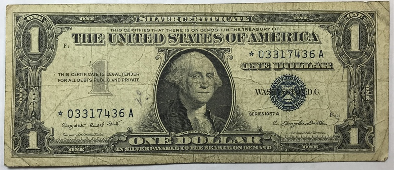 1957A $1 STAR NOTE Silver Certificate Replacement Error