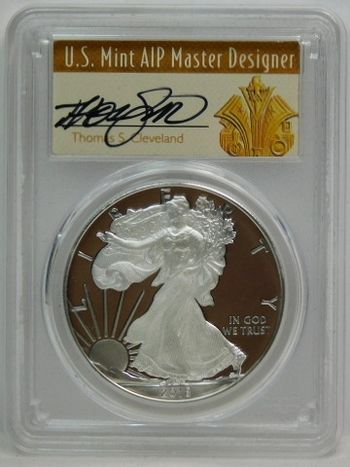 2018-W American Proof Silver Eagle - First Day of Issue - Struck at West Point - Graded PR70 DCAM by PCGS - SIGNED by Thomas S. Cleveland; U.S. Mint AIP Master Designer