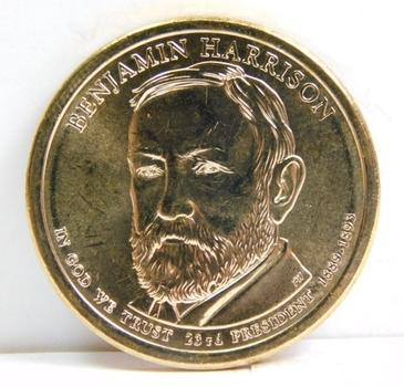 2012-D Benjamin Harrison Presidential Commemorative Dollar - Excellent Detail and Luster