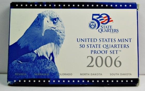 2006 United States Mint 50 State Quarters Proof Set - Nevada, Nebraska, Colorado, North Dakota & South Dakota - In Original Box with COA