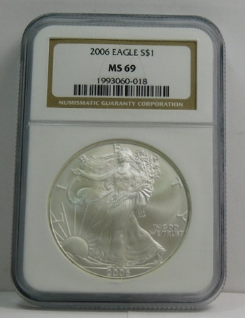 2006 American Silver Eagle - Graded MS69 by NGC - Pure White Coin
