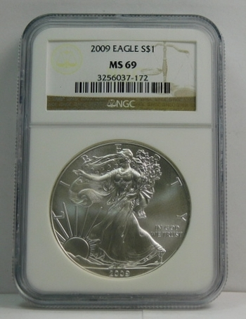 2009 American Silver Eagle - 1 oz .999 Fine Silver  - Graded MS69 by NGC - Nice White Coin