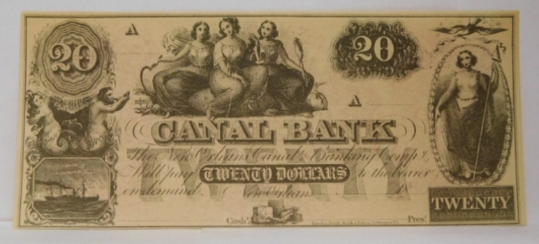 1800's $20 New Orleans Canal Bank - A Series - Unissued and Uncirculated Obsolete Bank Note