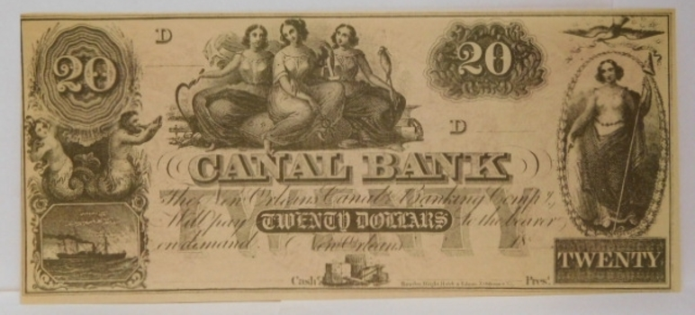 1800's $20 New Orleans Canal Bank - D Series - Unissued and Uncirculated Obsolete Bank Note