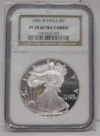 2005-W American Proof Silver Eagle - Graded PF70 ULTRA CAMEO by NGC - West Point Minted