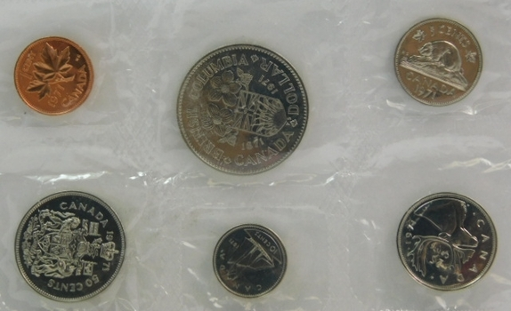 1971 Canada Proof-Like Mint Set w/British Columbia Centennial Commemorative Dollar in Original Mint Cellophane Packaging