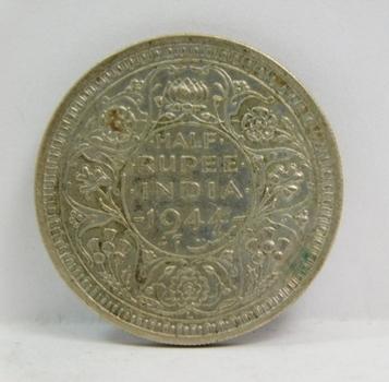 1944 British India Silver Half Rupee - Nice Higher Grade