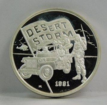 One Ounce of .999 Fine SILVER Proof $5 Hutt River Province - 1991 Desert Storm - New Queenland Mint