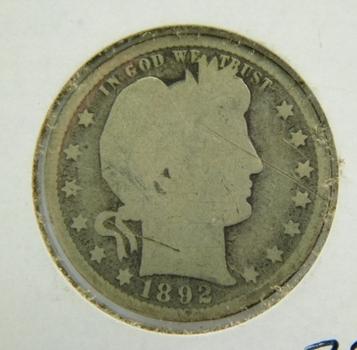 1892 Silver Barber Quarter