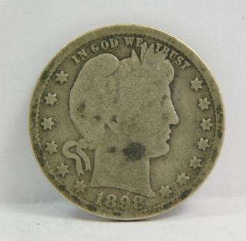 1898 Silver Barber Quarter