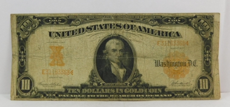 1907 $10 Large Size Gold Certificate - Historical Note Payable in Gold Coin