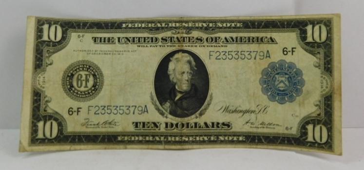 1914 $10 Blue Seal Large Size Federal Reserve Note - Atlanta, Georgia