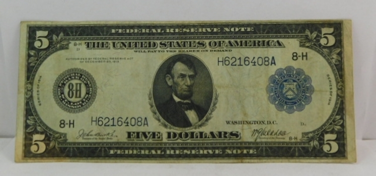 1914 $5 Federal Reserve Note - St. Louis, Missouri