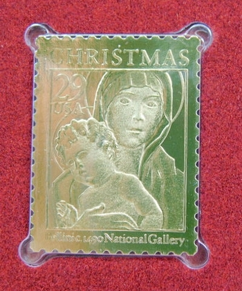 22K Gold Gleaming Surface Proof Replica Stamp - Christmas 1992 - Madonna and Child - Golden Replicas of United States Stamps - FDC