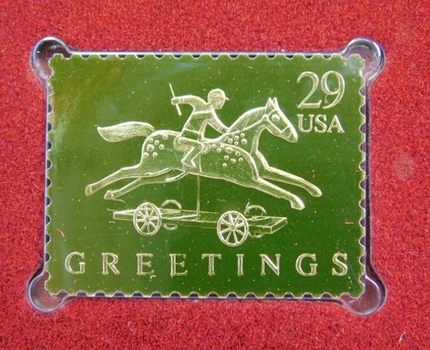 22K Gold Gleaming Surface Proof Replica Stamp - Christmas 1992 - Pony and Rider - Golden Replicas of United States Stamps - FDC