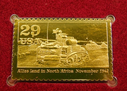 22K Gold Gleaming Surface Proof Replica Stamp - World War II - North Africa - Golden Replicas of United States Stamps - FDC