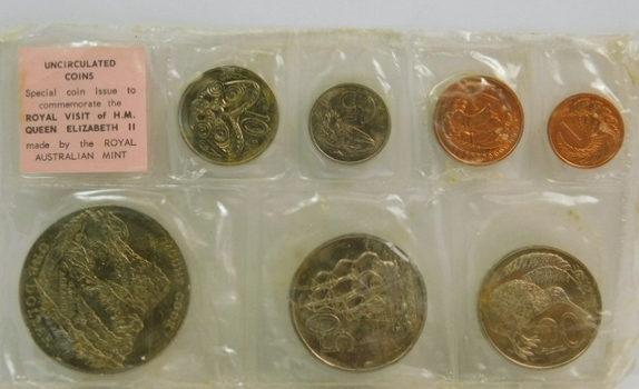 1970 New Zealand - Cook Islands - South Pacific Royal Visit - James Cook Commemorative Mint Set - Low Mintage of Only 25,070!!!